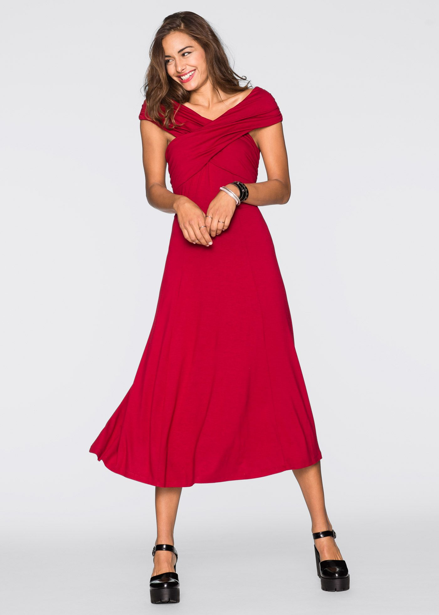 8df499e3a Vestido midi de malha vermelho escuro encomendar agora na loja on-line  bonprix.com