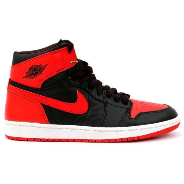 best authentic 28db2 0de1f 136066 061 Jordan Retro 1 I Black Varsity Red 136066 061 ❤ liked on  Polyvore featuring shoes, sneakers, nike, zapatos, retro inspired shoes, ...