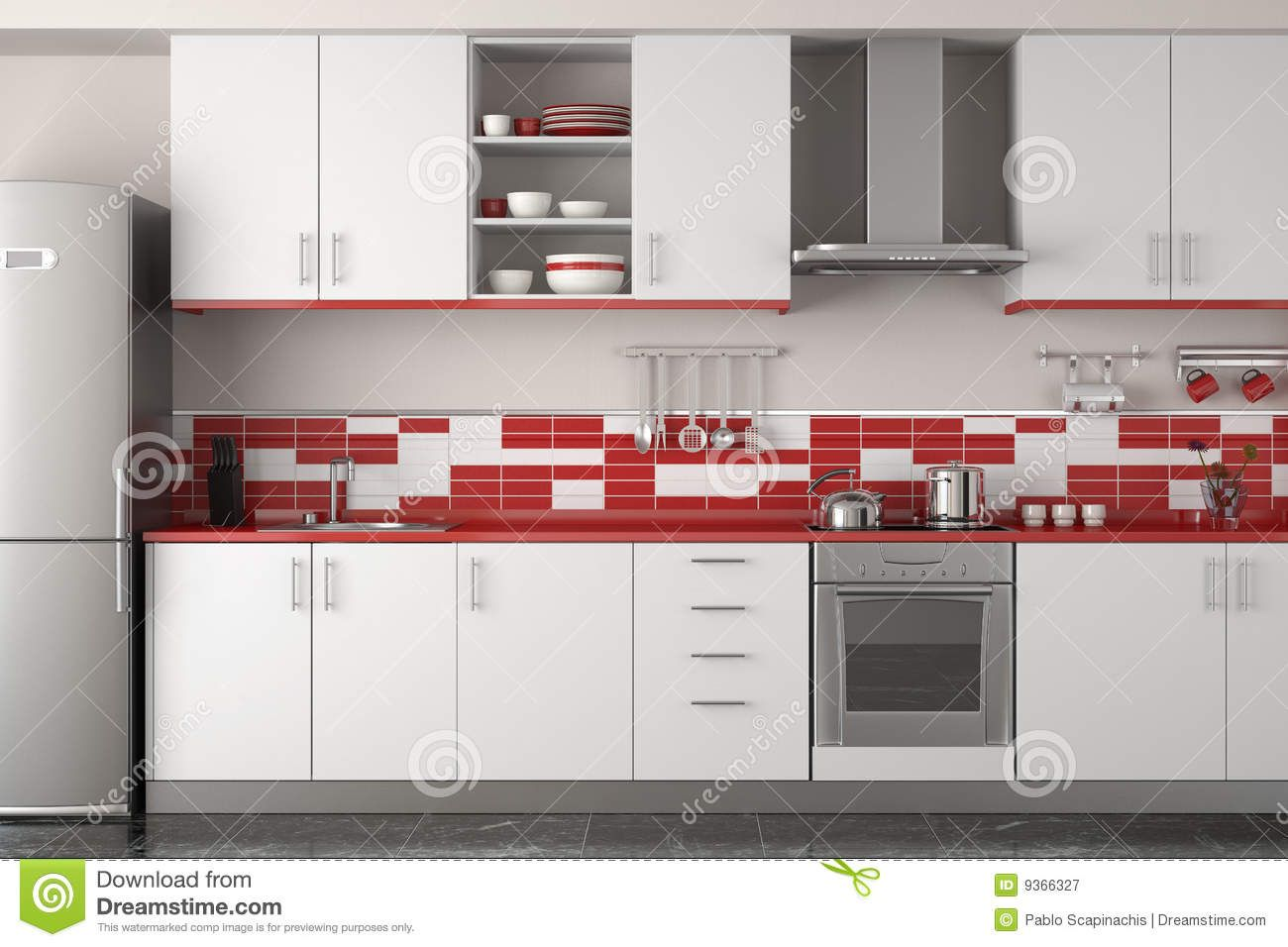Modern Red Kitchen Stock Images Image 13796814 Red Kitchen