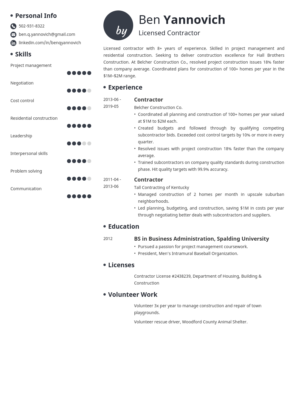 Contractor Resume Example Template Initials Resume Examples Resume Job Resume Examples