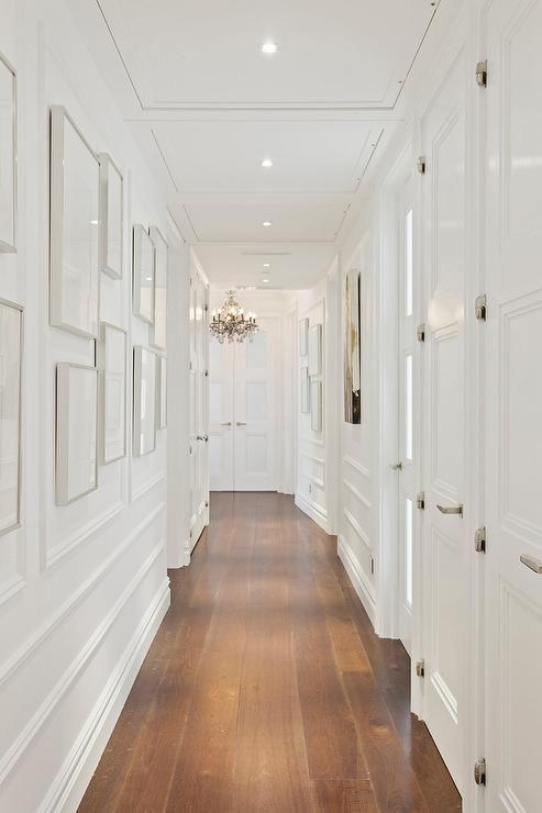 12 decor ideas to make narrow hallways look bigger white for Decorative wall trim ideas
