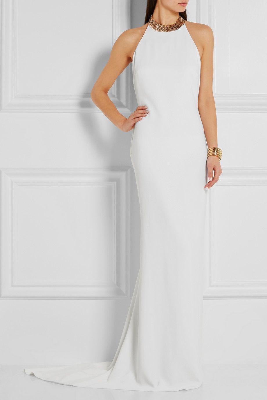 7977a4b30dc0 STELLA MCCARTNEY Halterneck chain-embellished stretch-crepe gown ...