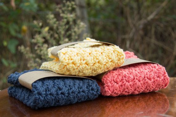 WASHCLOTH SET of 3 - handmade crochet washcloths - choose your colors