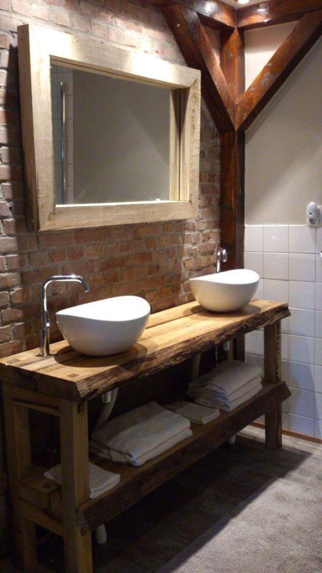 Meuble Vasque Salle De Bain Bois Brut Meuble Vasque Vanites De Salle De Bain Rustique Vasque Salle De Bain