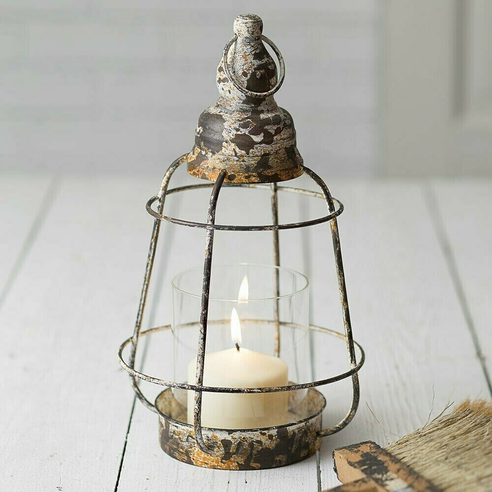 Primitive LONG BEACH LANTERN Candle Holder Distressed Metal Farmhouse Cottage
