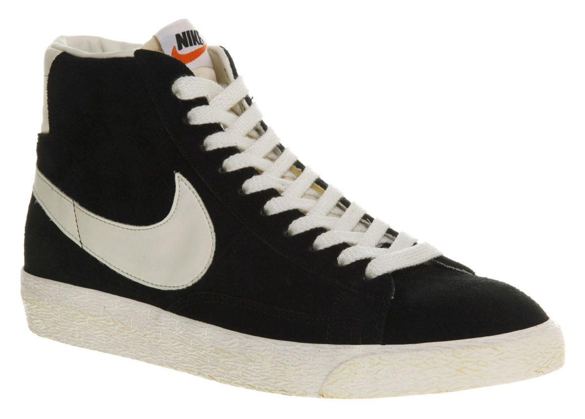 nike high top blazers black white