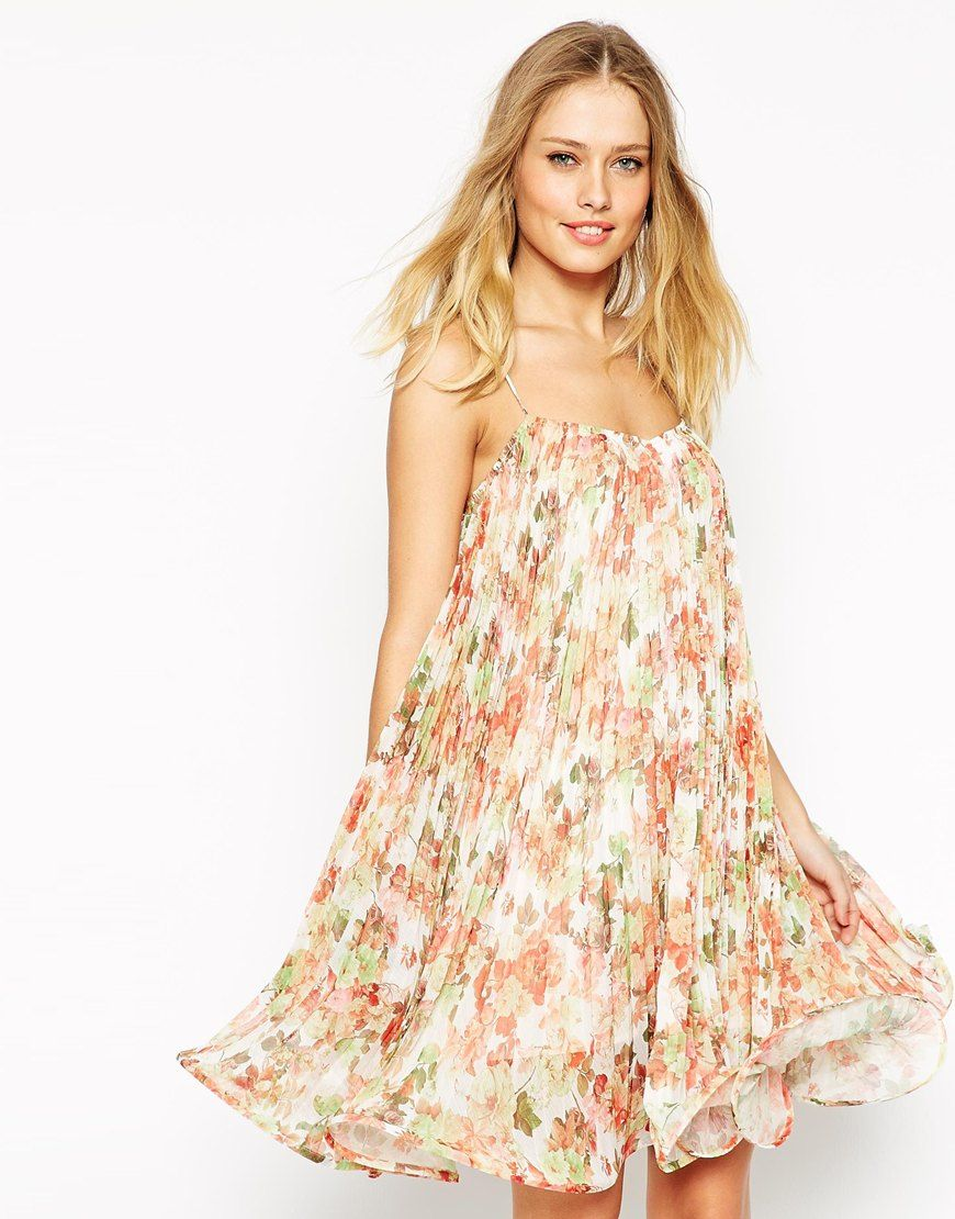 ASOS Mini Wiggle Hem Dress in Pleated Floral Print