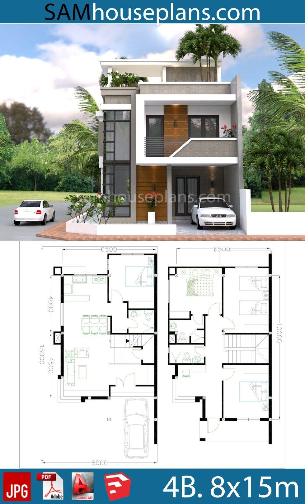 House Plans 8x15m With 4 Bedrooms Sam House Plans House Construction Plan Duplex House Design Model House Plan