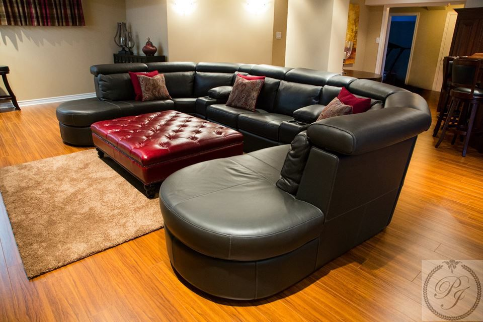 Beautiful large leather sectional sofa from Parsons Interiors.