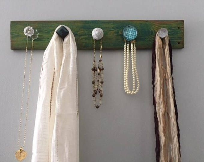 Wall Rack Knobs Distressed Wood Wall Rack Jewelry Organizer Scarf