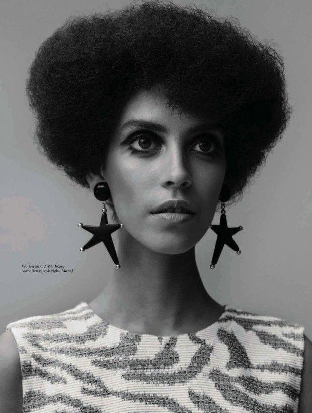 Nirvana Naves models 1970 inspired fashion for Elle Netherlands November 2015 [editorial]