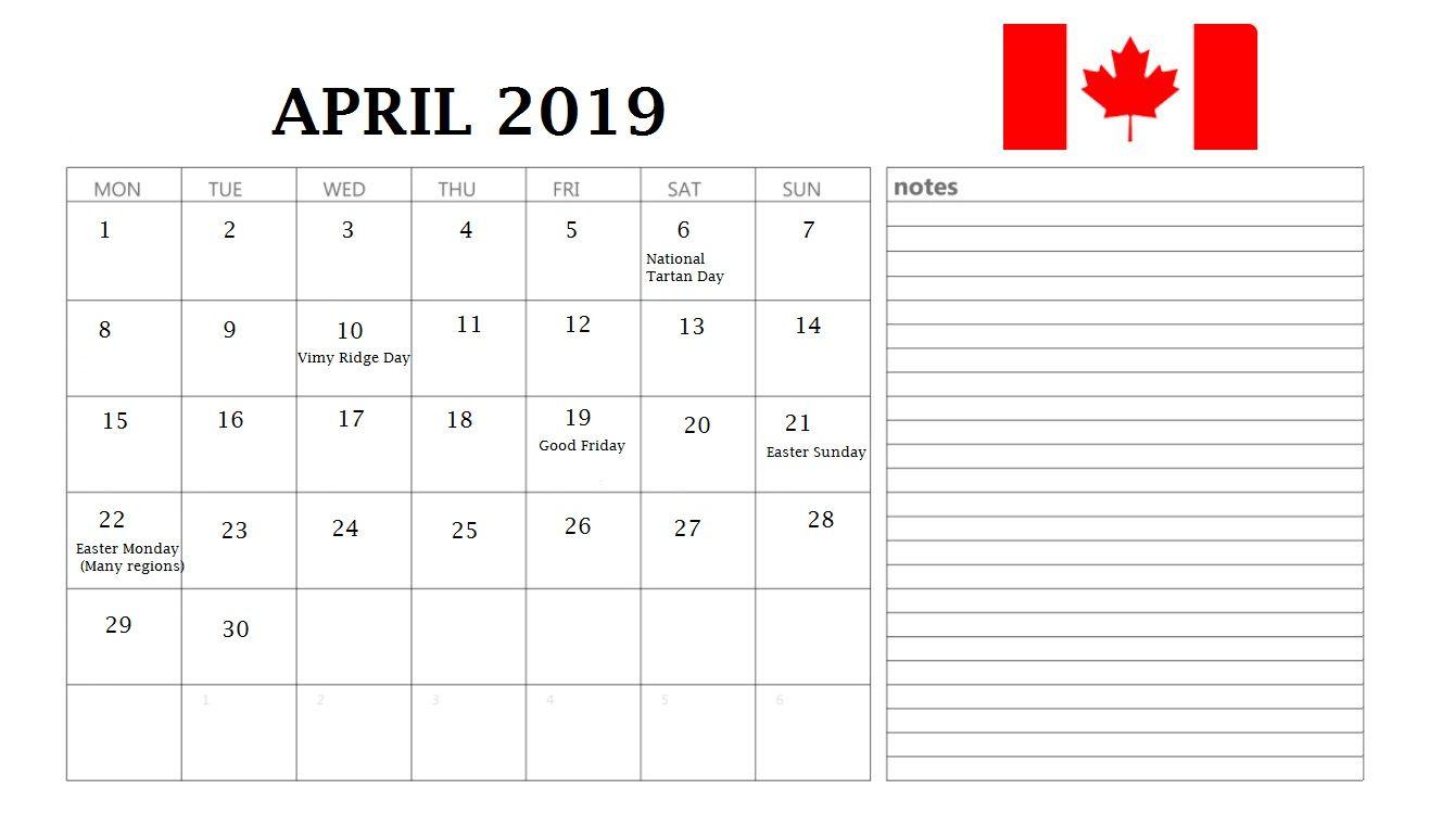 April 2019 Calendar Canada Holidays April 2019calendar