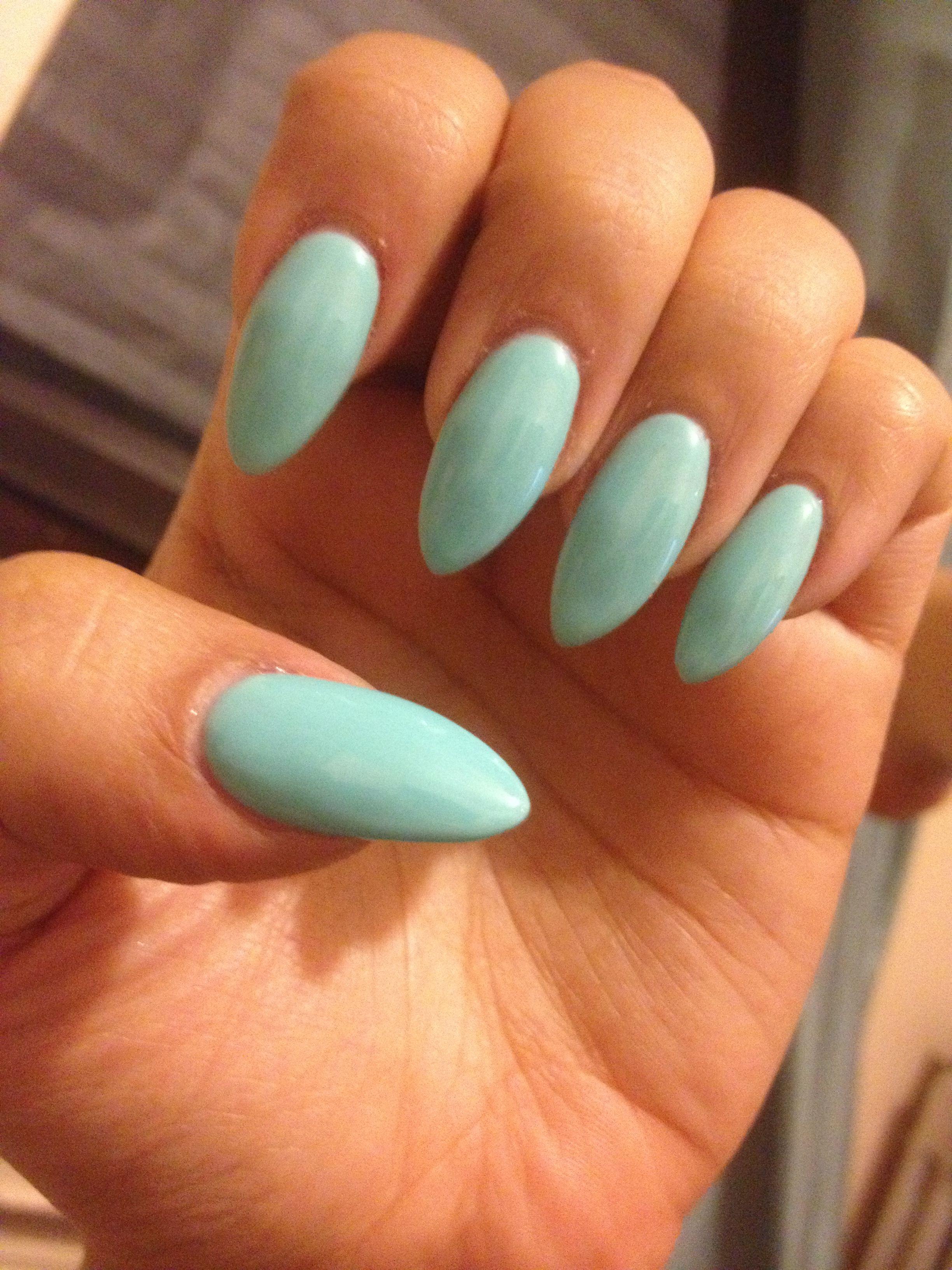 Tiffanys Blue Stiletto Almond Nails