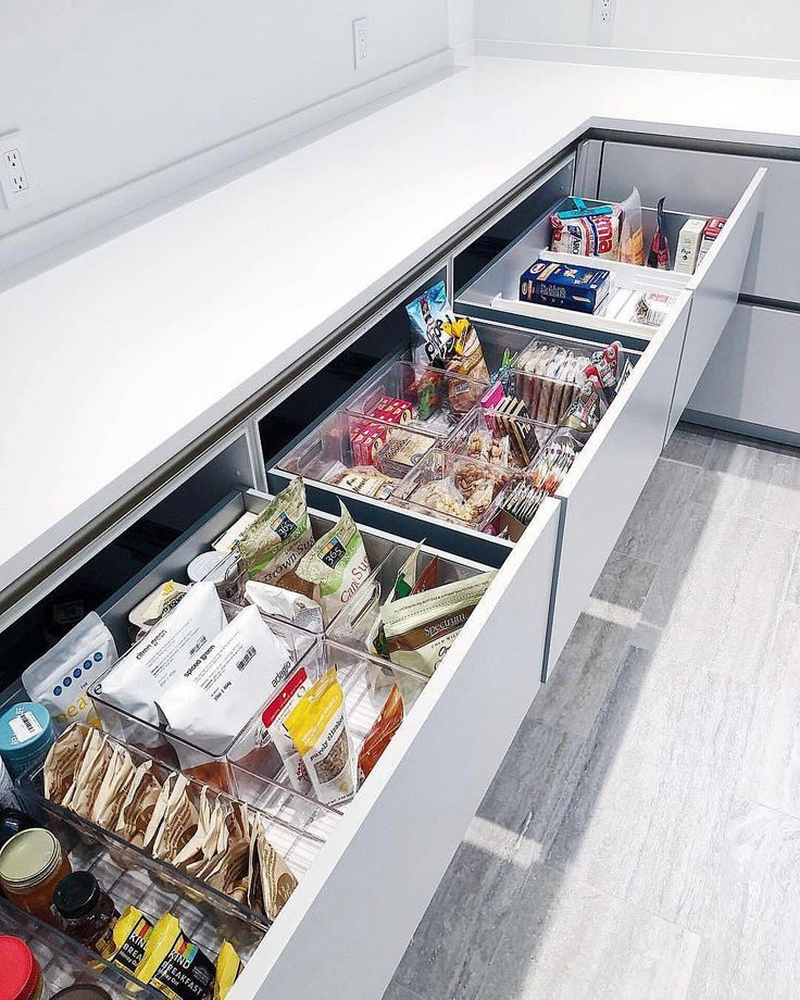 As I'm helping a client with her new kitchen design this picture illustrates just how important drawers are as supposed to those annoying… #kitchenpantries