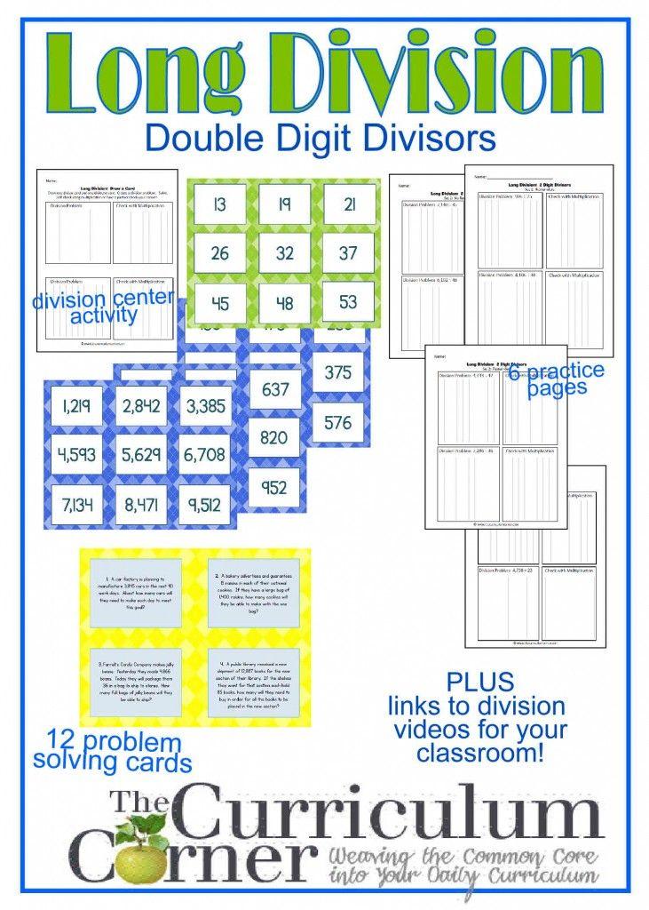 Long Division Resources 2 Digit Divisor Math Division Fifth Grade Math Division Math Centers Two digit long division worksheets