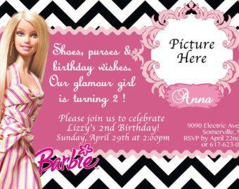 CUSTOM PHOTO Invitations Zebra Barbie Birthday Invitation Barbie