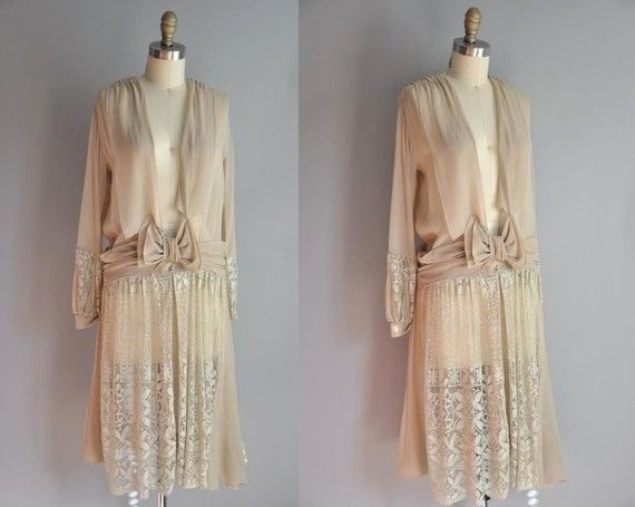 24hr 25% off SALE..///.. vintage 1920s antique chiffon drop waist ...