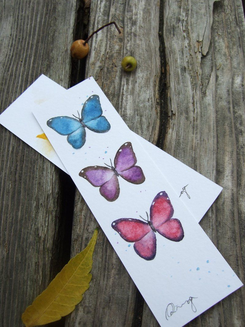 Watercolor bookmarks - Butterfly Hand Painted Watercolor Bookmark