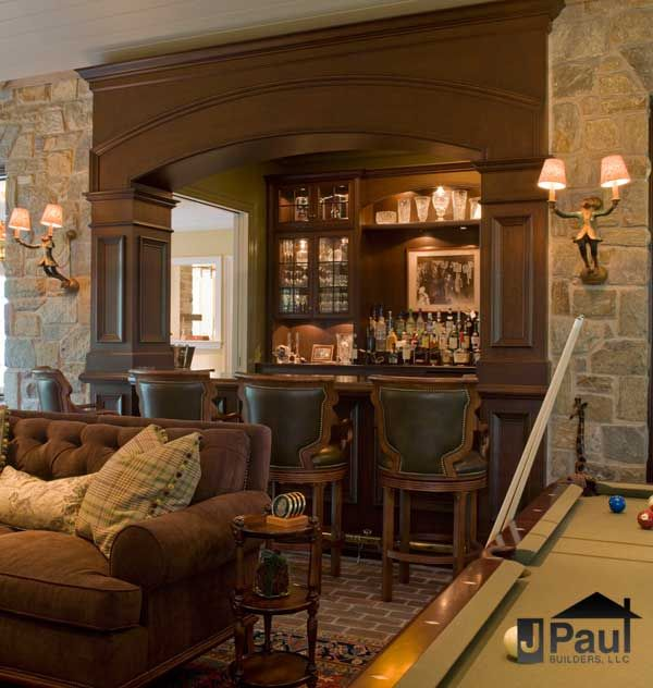 built-in snack bar for basement entertaining when watching movies, or family and friends are over.