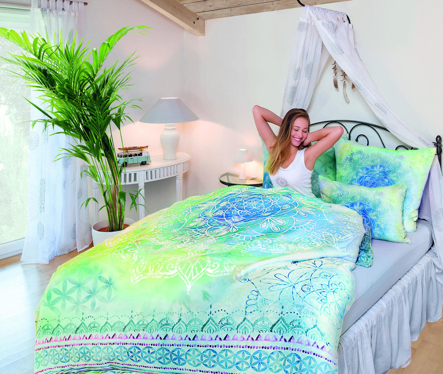 Bettbezug + Kissen Blue Dream Herzlotus