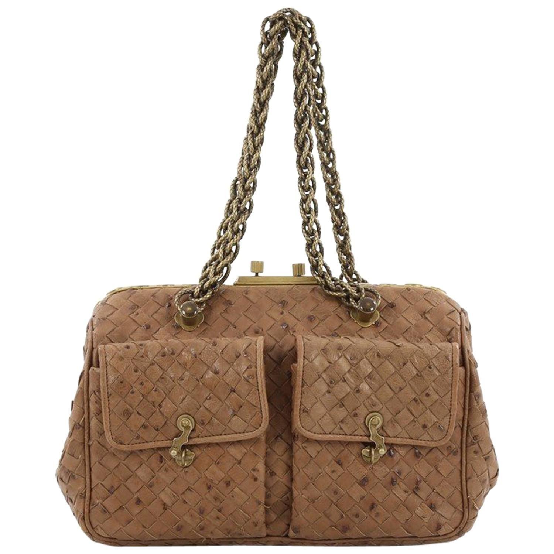 4d28c5d2ea72 Bottega Veneta Pocket Frame Shoulder Bag Intrecciato Ostrich Medium ...