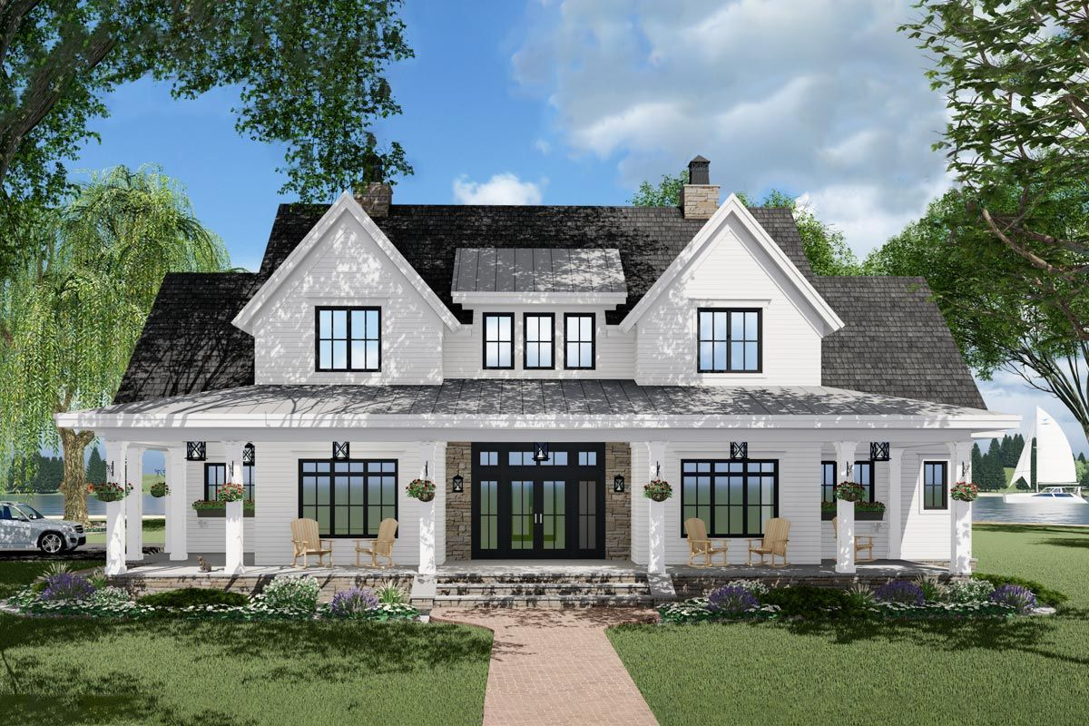 Photo of Plan 14680RK: 3-Bed Modern Farmhouse Plan with French Door Greeting