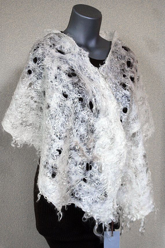 Felted eco-friendly light warm white scarf woman lacy lace unique designer felt mohair eco fur natural wearable wool gift Christmas present