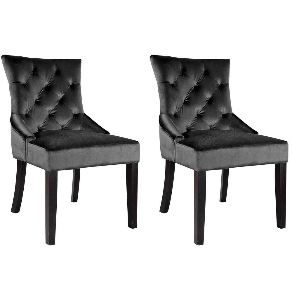 Corliving antonio dark grey velvet accent chair set of 2
