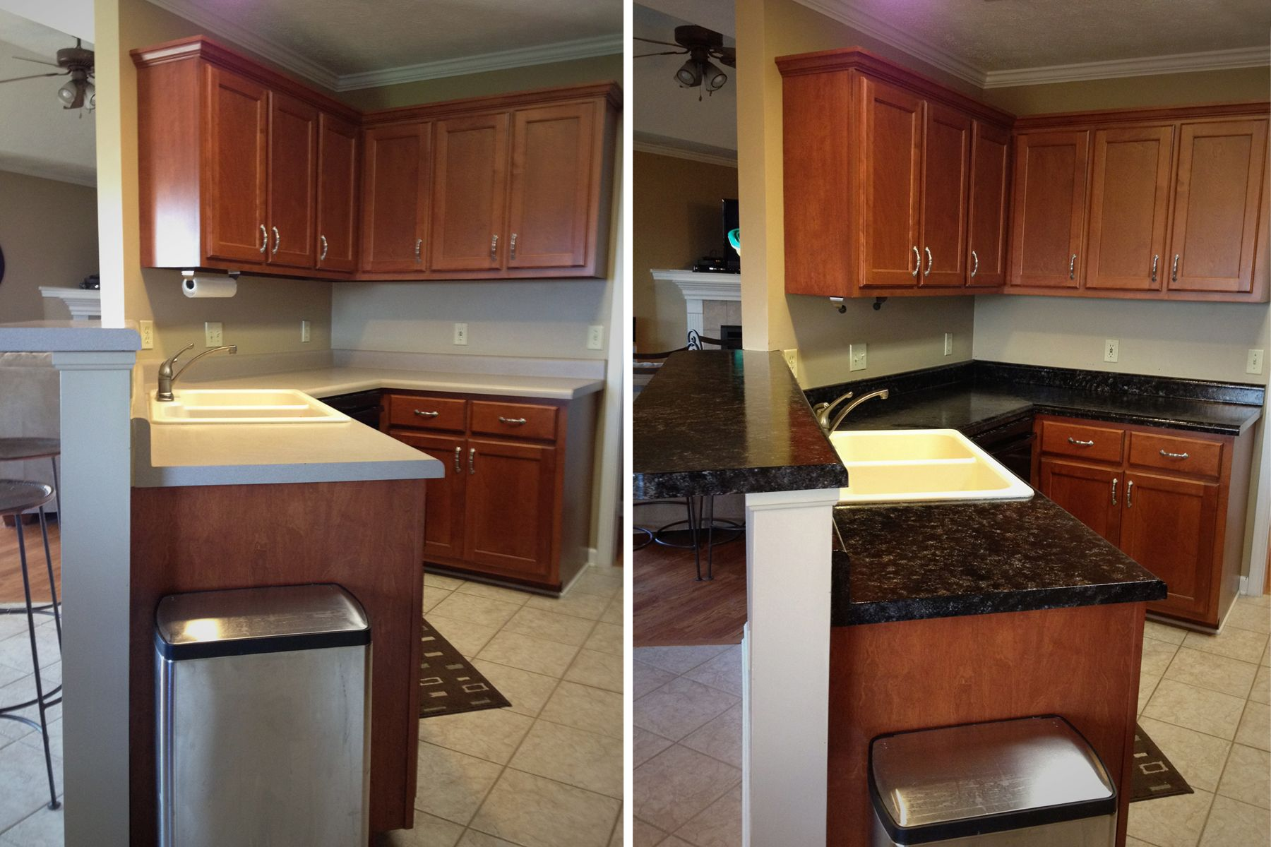 DIY faux granite countertops. I was tired of my Formica counters and replaced them for less than $100 by painting them!