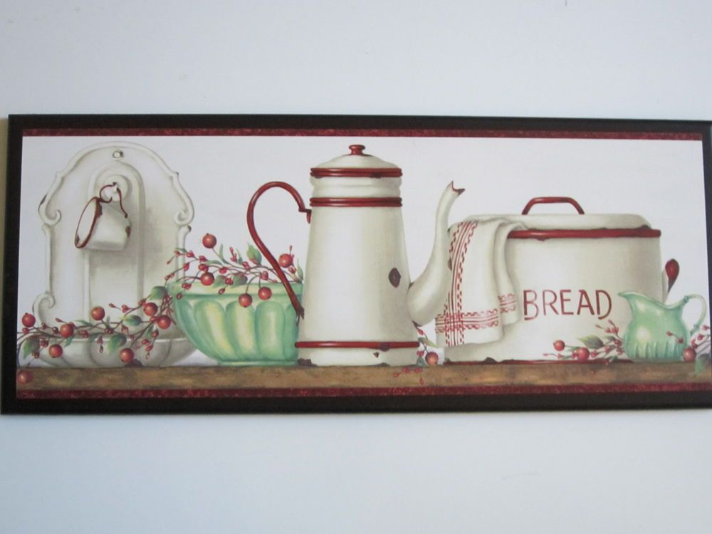 Kitchen Wall Decor Plaque Red White Antique Enamel Ware Vintage Kitchen Sign C Decorative Wall Plaques Country Kitchen Wall Decor Red Wall Decor