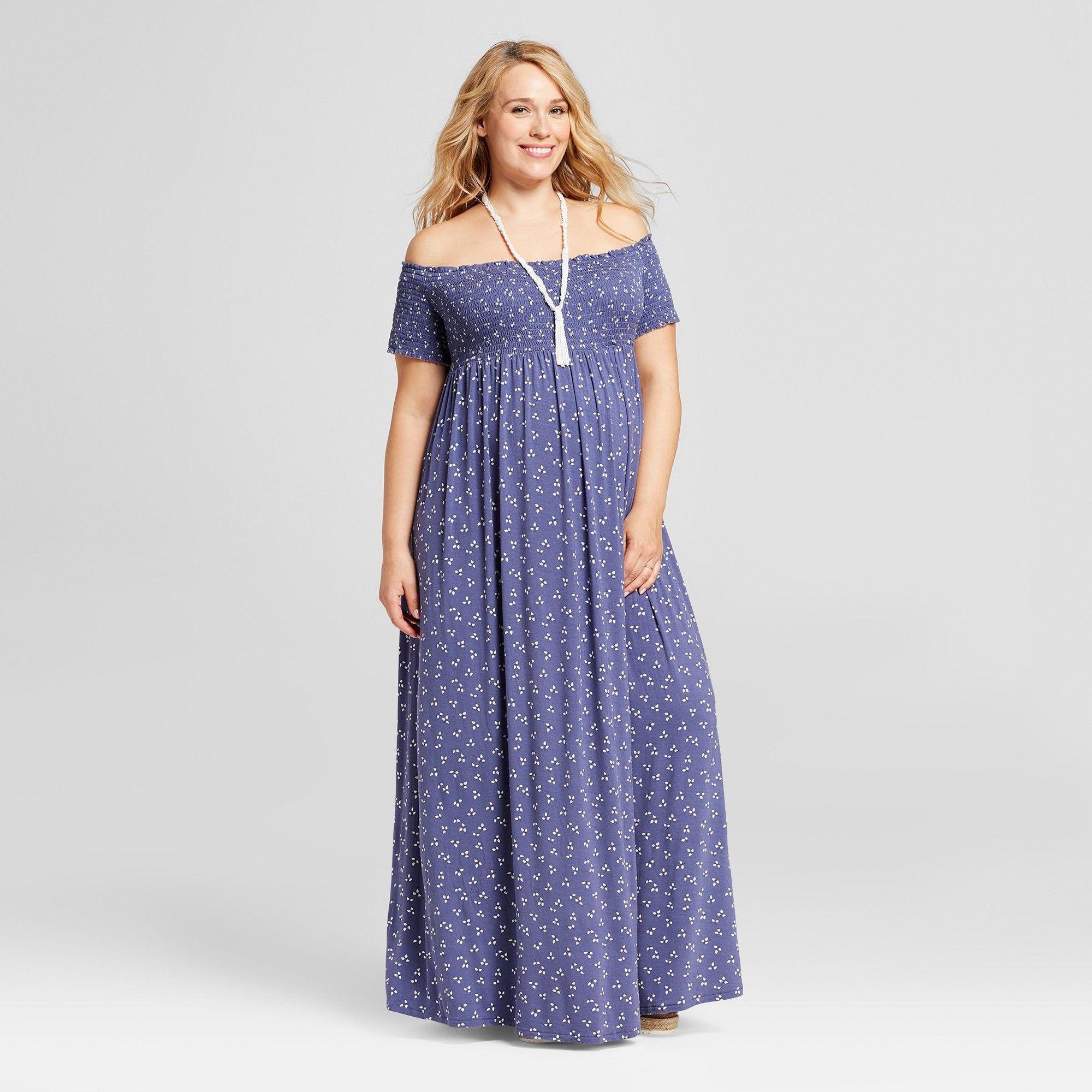 2fd4987e8f53 Maternity Plus Size Smocked Maxi Dress - Isabel Maternity by Ingrid & Isabel  Midnight Sky Print 2X, Women's, Blue