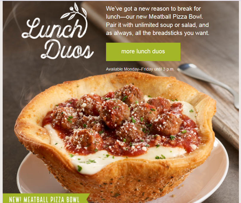 Olive Garden Meatball Pasta Bowl   Fast Food Fare ...