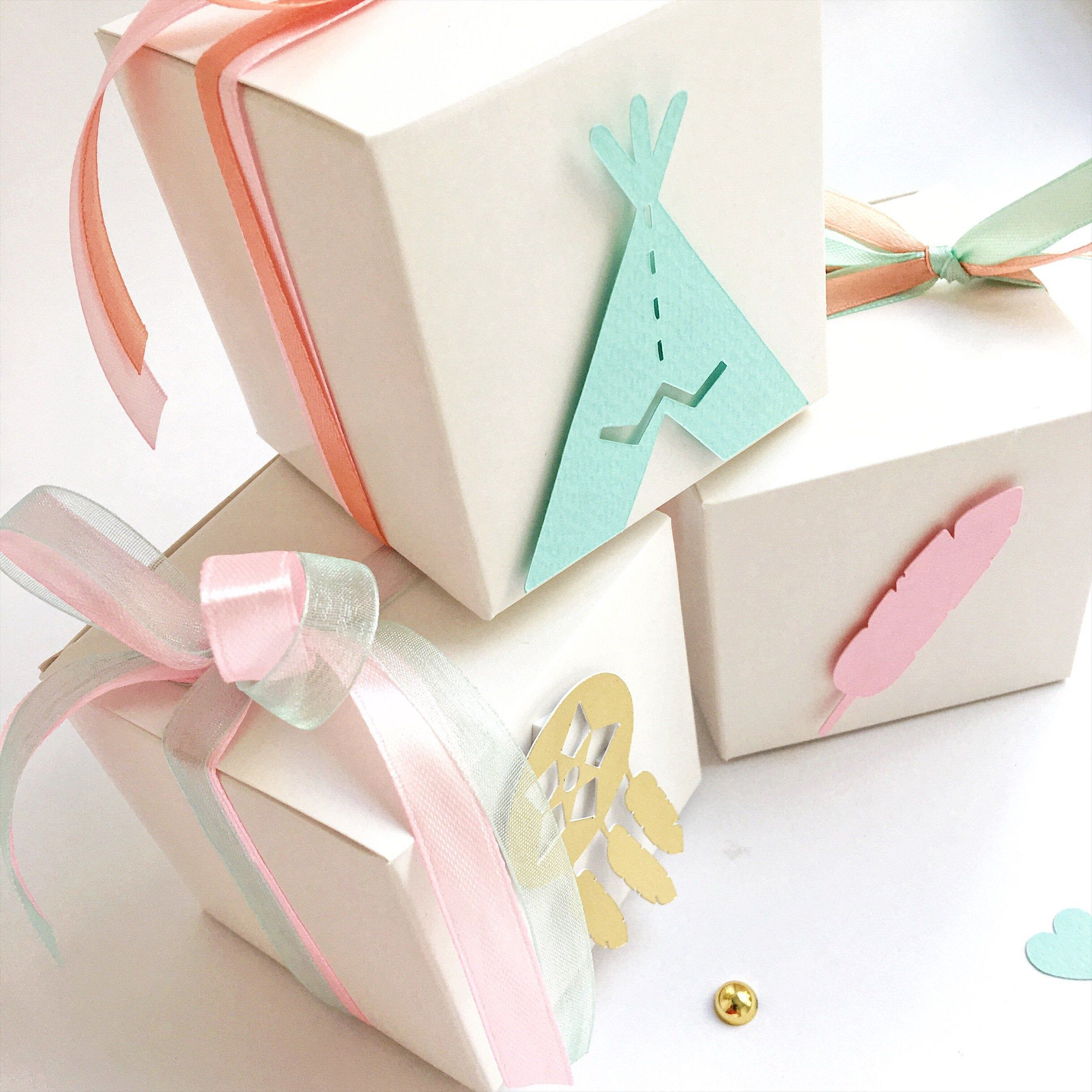 Boho favor boxes wild one girl birthday decorations pink