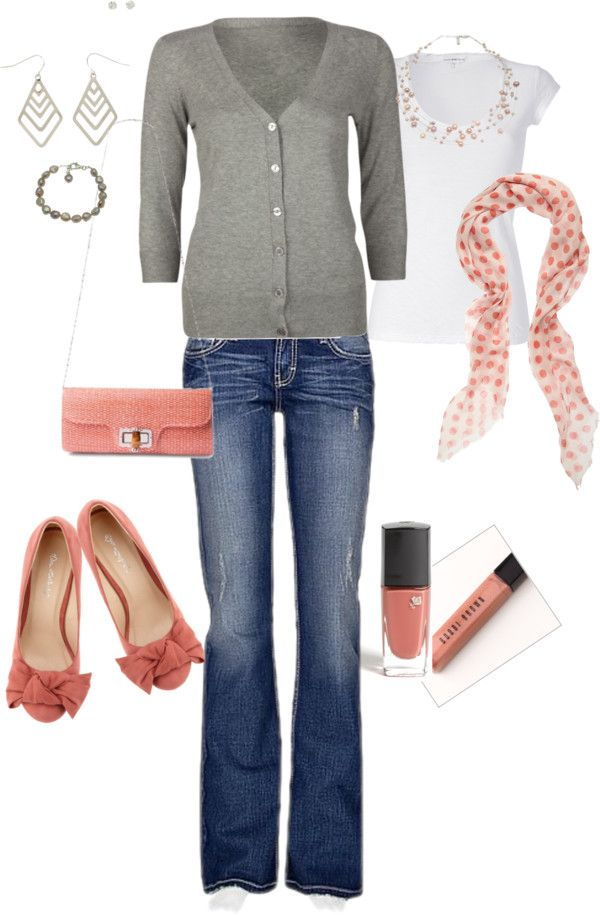 """""""Rose and Gray Casual"""" by gracehands on Polyvore"""