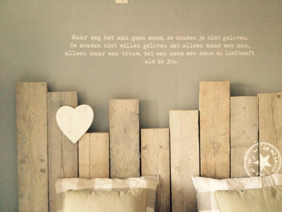 Steigerhout hoofdbord met tekst slaapkamers pinterest bedroom