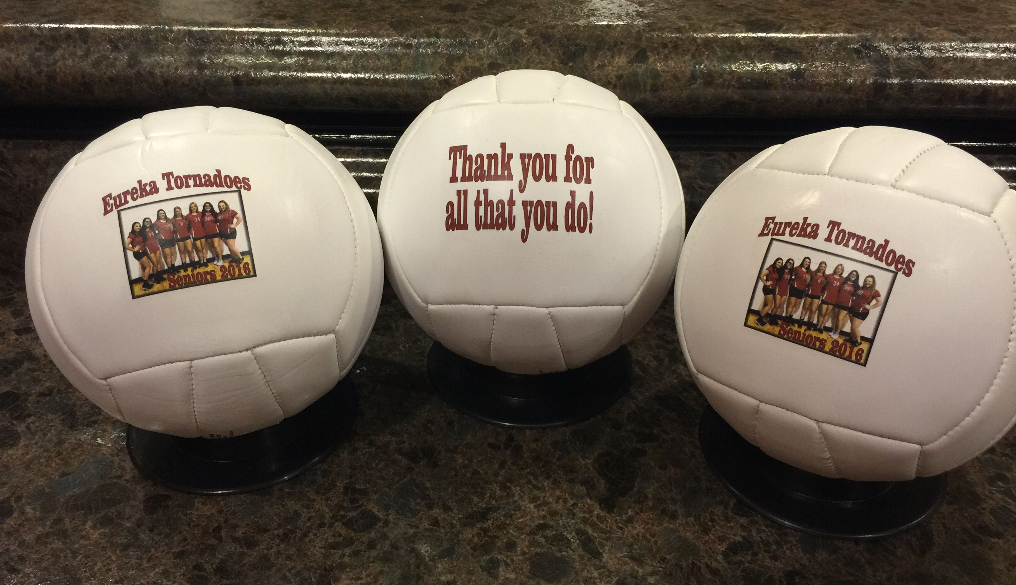 Volleyballs For Seniors Done By Get On The Ball Photos Print On The Front And Back And There S Still Room L Sports Gifts Volleyball Gifts Personalized Sports