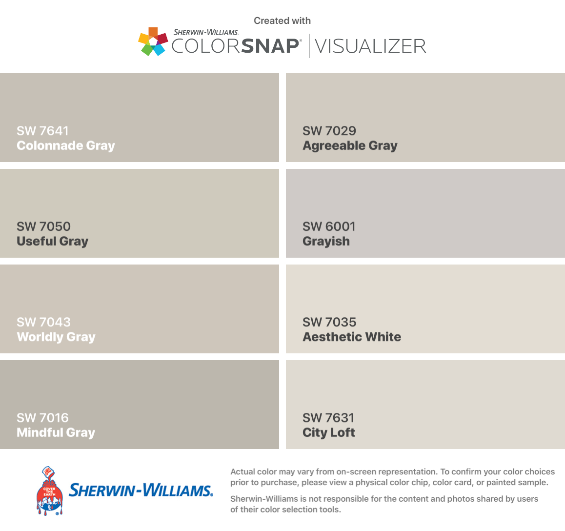 I found these colors with ColorSnap® Visualizer for iPhone by Sherwin-Williams: Colonnade Gray (SW 7641), Useful Gray (SW 7050), Worldly Gray (SW 7043), Mindful Gray (SW 7016), Agreeable Gray (SW 7029), Grayish (SW 6001), Aesthetic White (SW 7035), City Loft (SW 7631). #cityloftsherwinwilliams