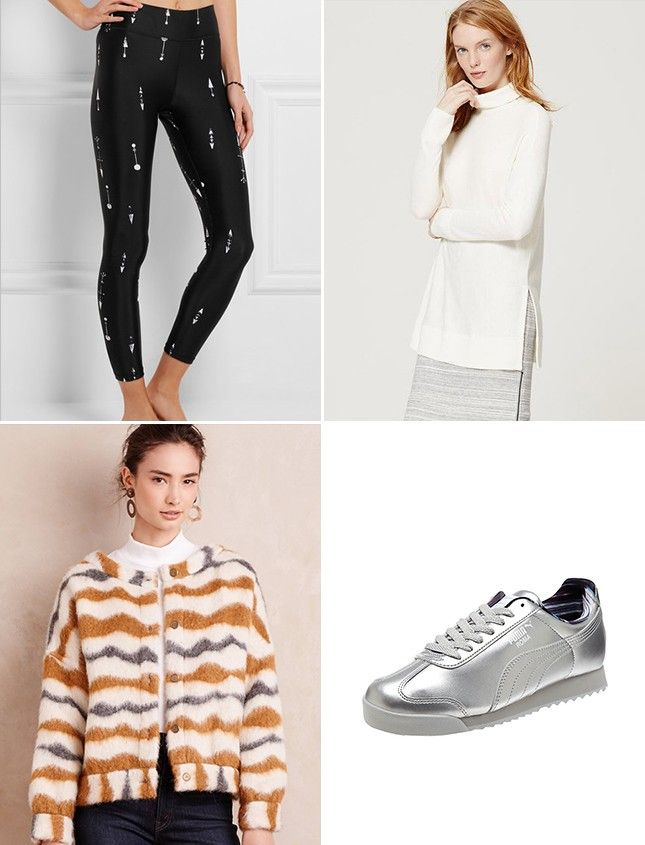 Pair patterned yoga pants with shiny sneaks + a statement coat for a weekend look that's sure tot stand out.