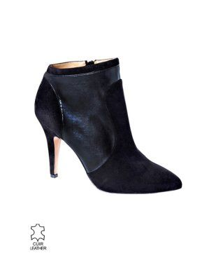 6c091016800587 Leather ankle boots black - Promod