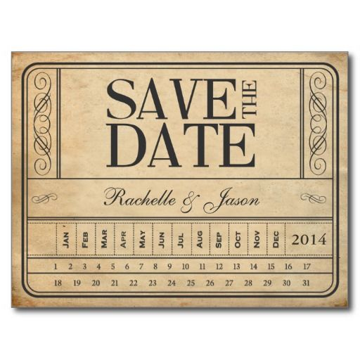 Vintage Ticket II -- Save the date punch out Postcards