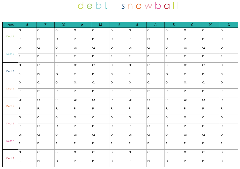 printable debt snowball form - Google Search | $ Money ...