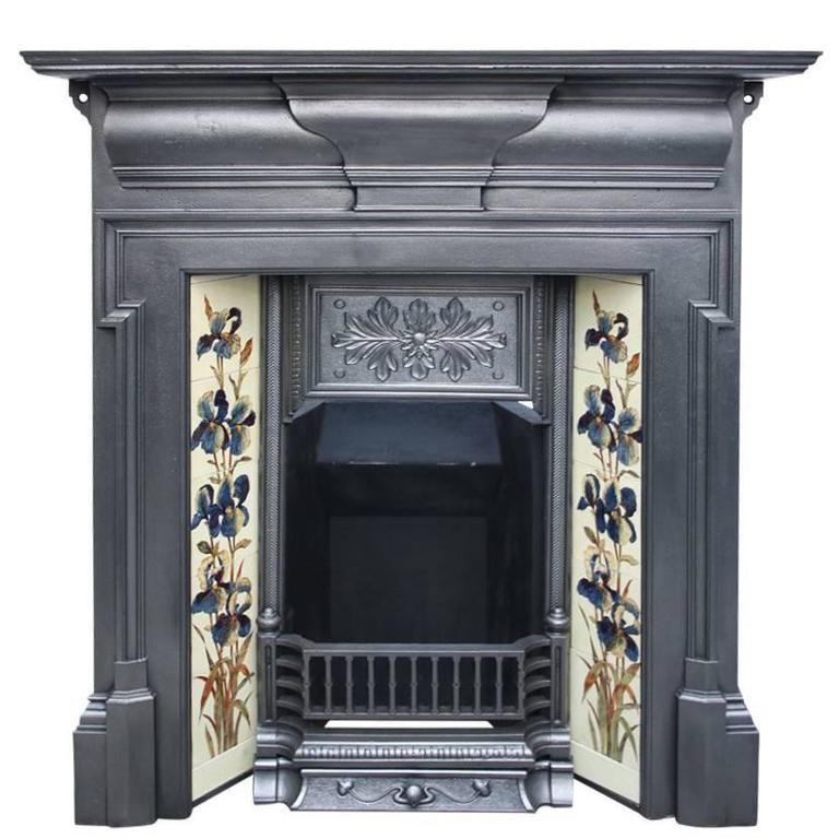 Antique Late Victorian Cast Iron Combination Fireplace Antique Fireplace Surround Antique Fireplace Victorian Fireplace Tiles