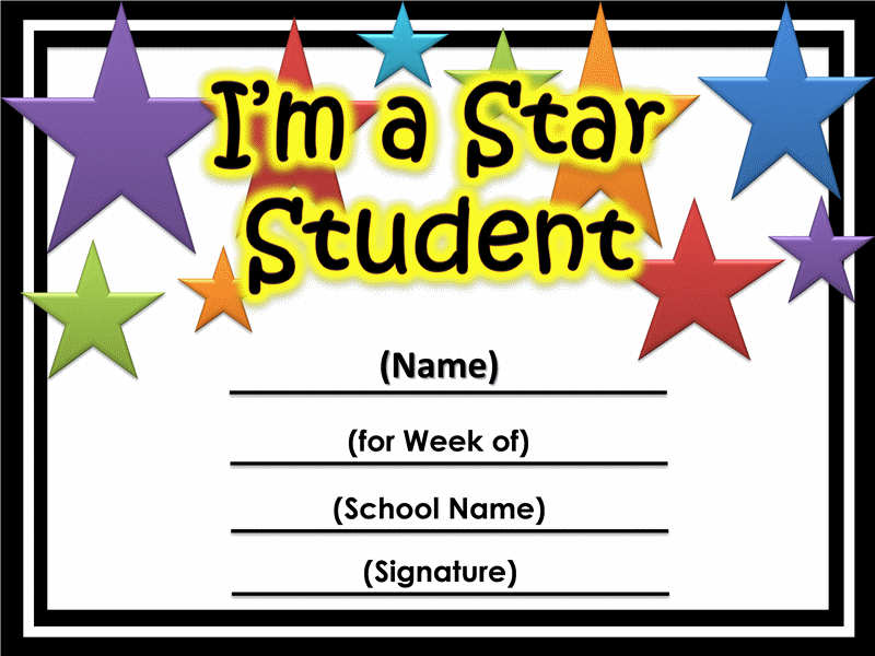 Star of the week certificate printable printable certificates star student certificate free certificate templates in academic award certificates category yadclub Image collections