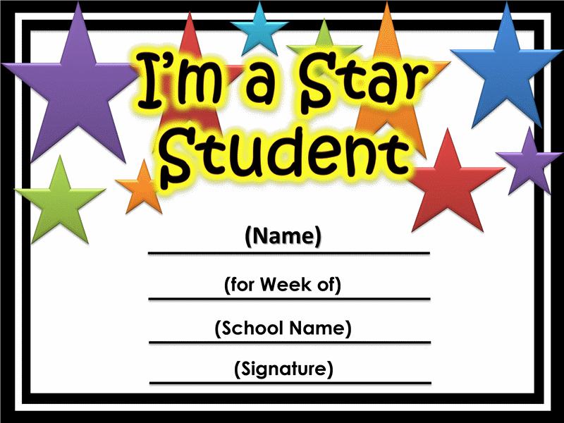 Star Of The Week Certificate Printable  Printable Certificates