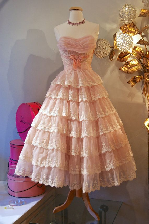 614643de911 50 s Dress    Vintage 1950 s Pretty Pink Tiered by xtabayvintage ...