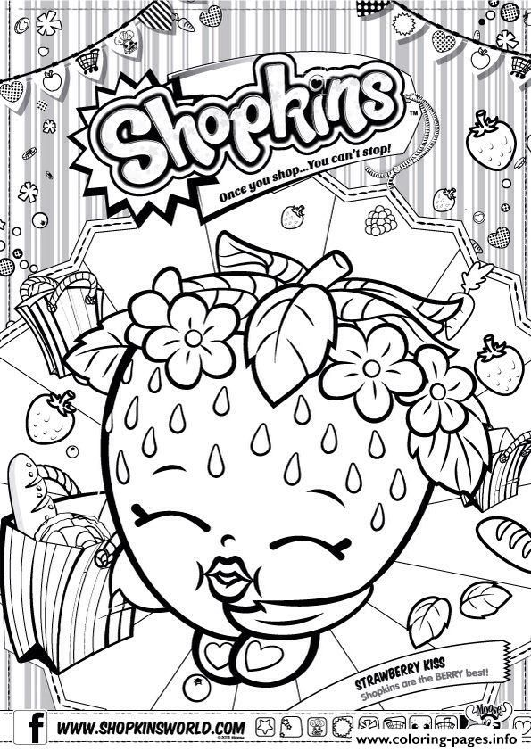 Print Shopkins Strawberry Kiss Coloring Pages Shopkins Colouring