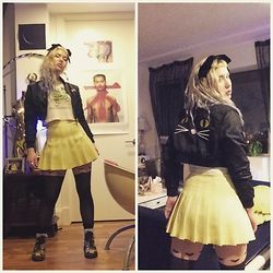 "Kendalle Aubra - Nasty Gal Black Velvet Bow, Atlantis Thrift ""Slamadactyl"" Shirt, American Apparel Pastel Yellow Tennis Skirt, Heart Thigh High Stockings, American Apparel Black And White Ruffle Socks, Lazy Oaf Cropped Cat Bomber Jacket - One Woman Girl Gang"