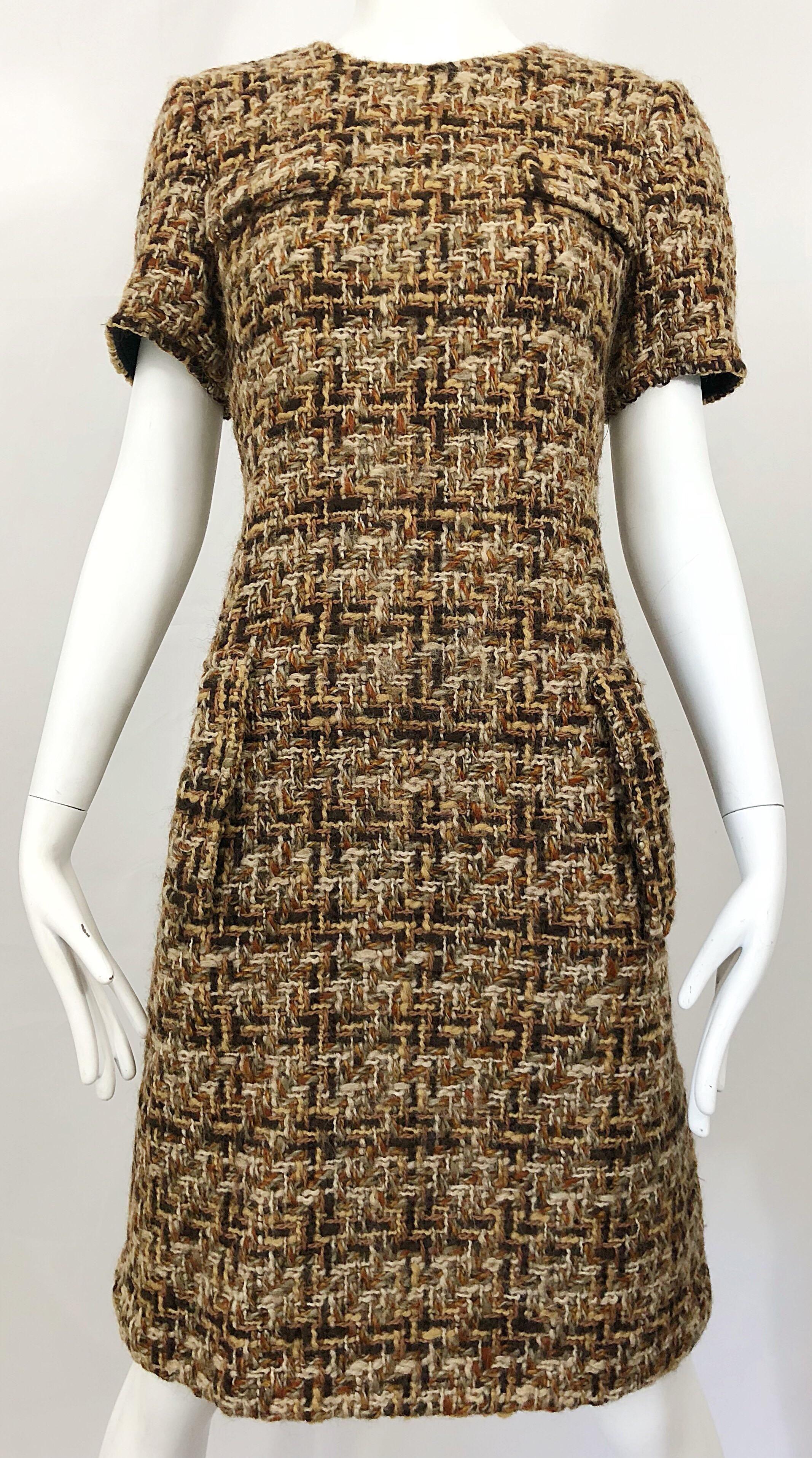 Chic 1960s Brown Taupe Boucle Woven Short Sleeve Vintage 60s Shift Dress Shift Dress Dresses Boucle [ 3830 x 2134 Pixel ]