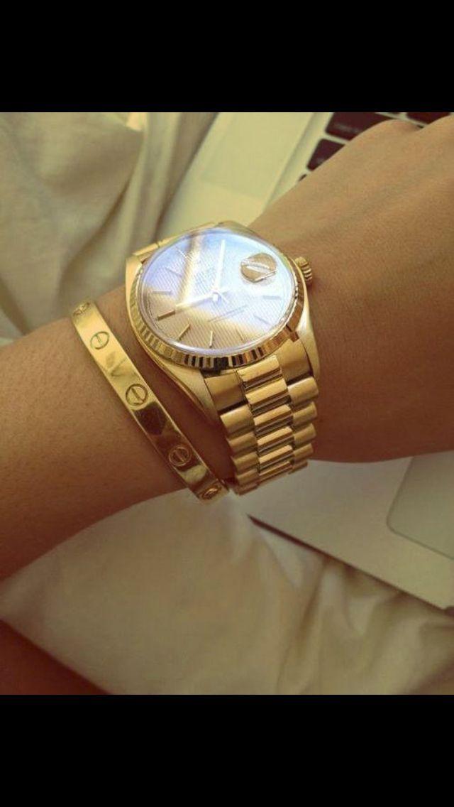 f2154df558bb1 Rolex watch and Cartier bracelet | Designers | Cartier love bangle ...