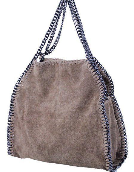 b1f24d3a5b2d2 Luxus Damentasche Donna Bella Echt Leder Wildleder Tasche mit Kette Taupe